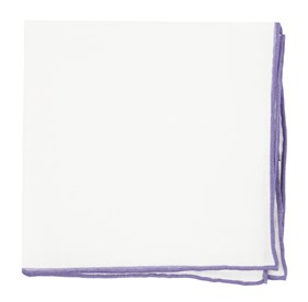 Lavender White Linen With Rolled Border pocket square
