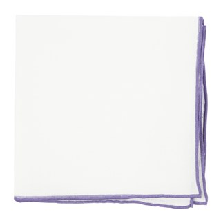 White Linen With Rolled Border Lavender Pocket Square