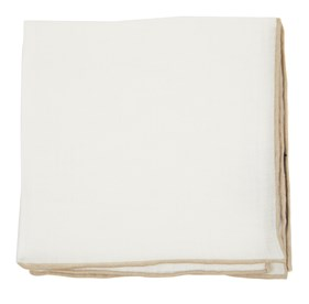 Champagne White Linen With Rolled Border pocket square