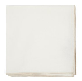 Light Champagne White Linen With Rolled Border pocket square