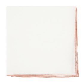 Peach White Linen With Rolled Border pocket square