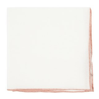 White Linen With Rolled Border Peach Pocket Square