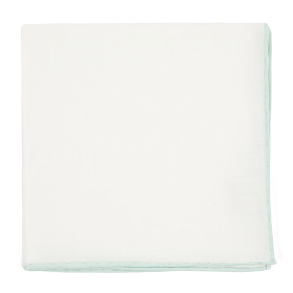 Spearmint White Linen With Rolled Border Pocket Square
