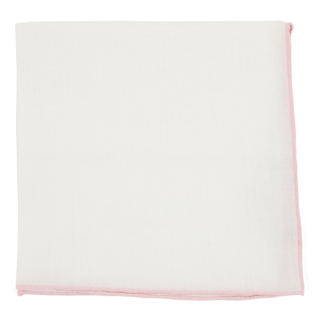 """White Linen With Rolled Border - Blush Pink - 13"""" x 13"""" - Pocket Squares"""