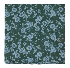 Hunter Green Linen Buds pocket square