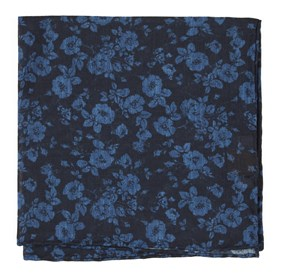 Linen Buds Navy pocket square