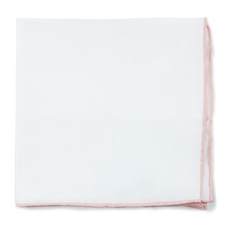 bhldn white linen with rolled border blush pocket square
