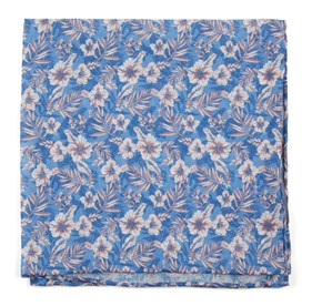 Classic Blue Island Blooms pocket square