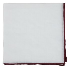 Bhldn White Linen With Rolled Border Black Cherry pocket square