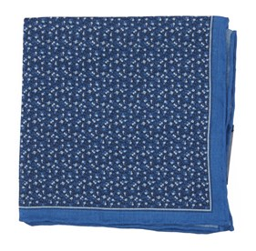 Blue Floral Mark pocket square