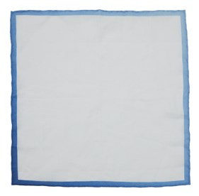 Blue White Linen With Ombre Border pocket square