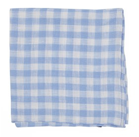 Dusty Blue Saint Lou Checks pocket square