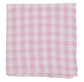 Pink Saint Lou Checks pocket square