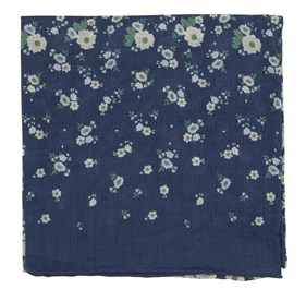 Navy Meyer Flowers pocket square