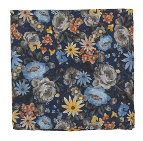 Navy Duke Floral pocket square
