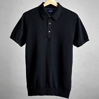 Black Solid Cotton Sweater Polo