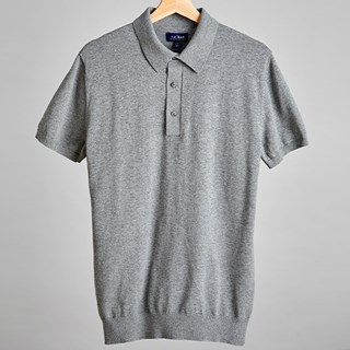 Melange Grey Solid Cotton Sweater Polo