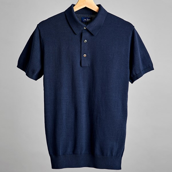 Navy Solid Cotton Sweater Polo