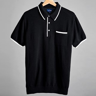 Black Tipped Cotton Sweater Polo