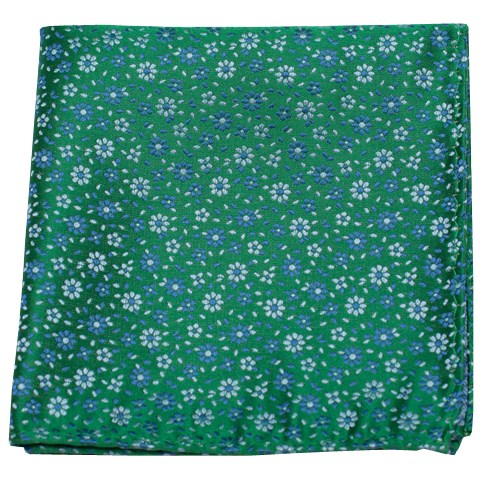 Milligan Flowers Emerald Green Pocket Square