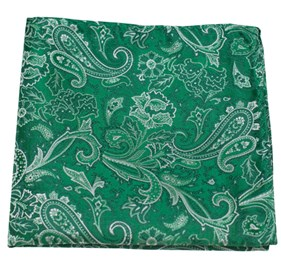 Emerald Green Tudor Paisley pocket square