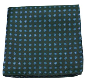 Hunter Green Anemones pocket square