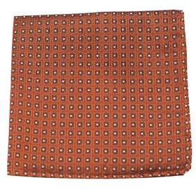 Wacker Drive Checks Burnt Orange pocket square