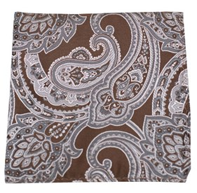 Aaron Paisley Chocolate Brown pocket square
