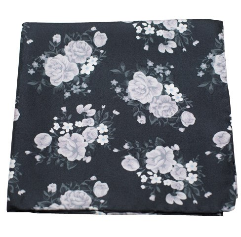 Black Hinterland Floral Pocket Square