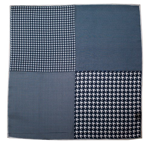 Navy Houndstooth Panel Pocket Square