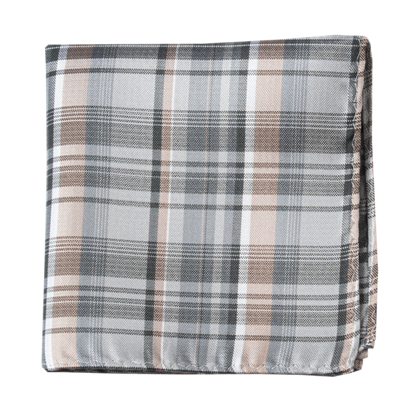 Titanium Band Of Plaid Pocket Square