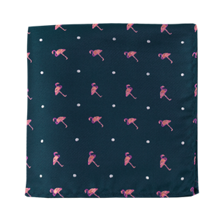 Pink Flamingo Navy Pocket Square
