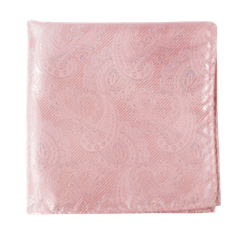 Blush Pink Twill Paisley pocket square
