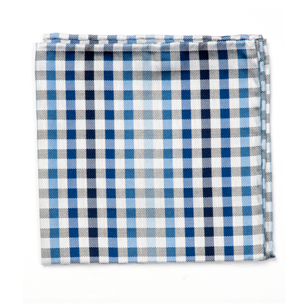 Blue Gibson Check Pocket Square
