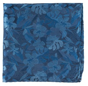 Classic Blue Island Floral pocket square