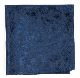 Navy Twill Paisley pocket square