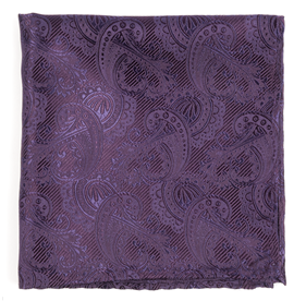 Eggplant Twill Paisley pocket square