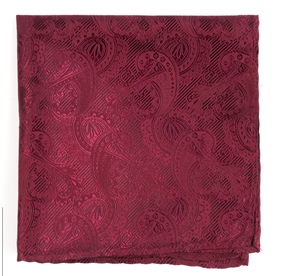Burgundy Twill Paisley pocket square