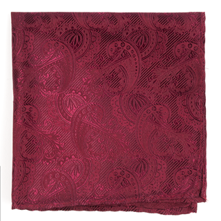 twill paisley burgundy pocket square