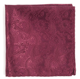 Raspberry Twill Paisley pocket square
