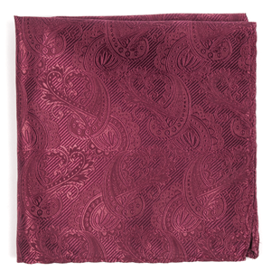 twill paisley raspberry pocket square