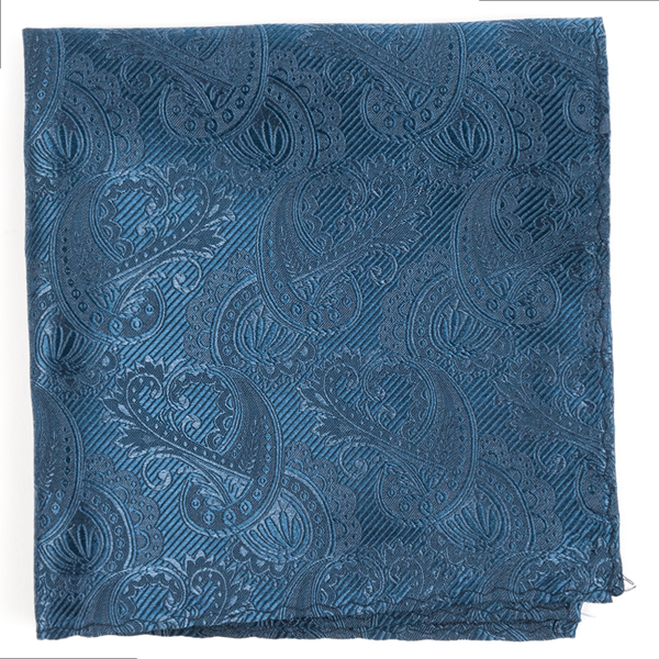 Whale Blue Twill Paisley Pocket Square