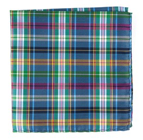Periwinkle Corrigan Plaid pocket square