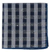 Pocket Squares - Splattered Gingham - Deep Slate Blue
