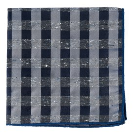 Deep Slate Blue Splattered Gingham pocket square