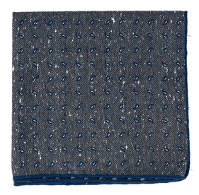 Paisley Timber Deep Slate Blue pocket square