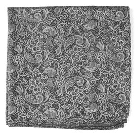 Charcoal Ceremony Paisley pocket square