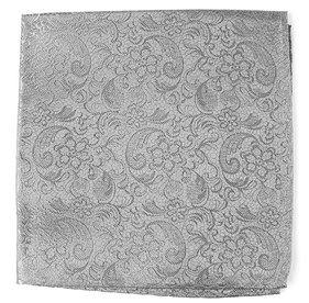 Silver Ceremony Paisley pocket square