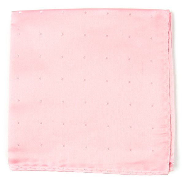Baby Pink Satin Dot Pocket Square