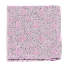 Baby Pink Hanging Paisley pocket square